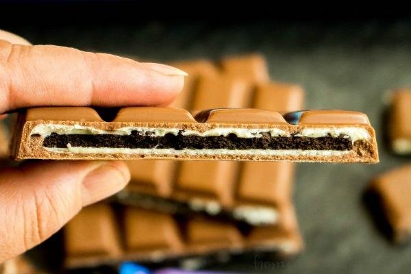 Inside of a MILKA OREO Big Crunch Chocolate Candy Bar