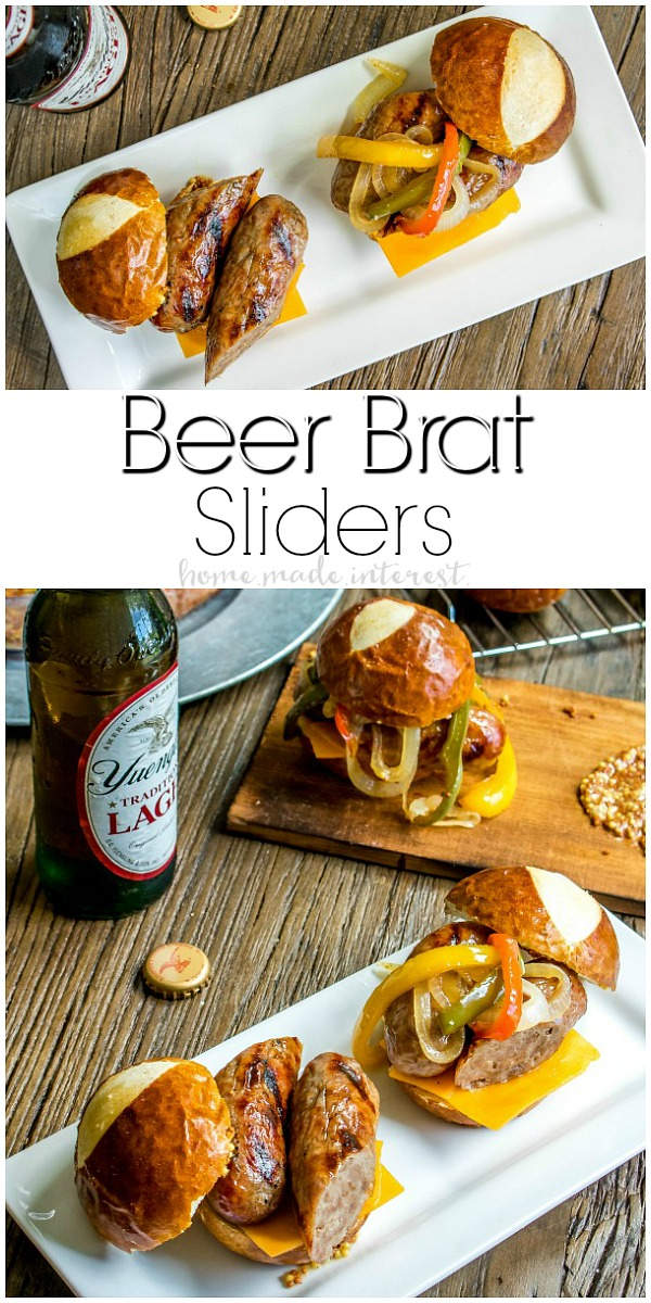 Beer Brat Sliders   If you're looking for the best grill recipe I've got your covered. These Beef Brat Sliders are the best summer party food and they are an amazing way to use grilled bratwurst all summer long. These brats are infused with beer and served on a pretzel bun with beer braised onions and cheddar cheese. This is an easy slider recipe that is perfect for game day parties and makes great football party food.