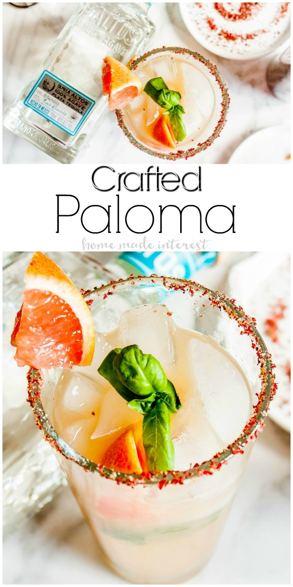 Altos Crafted Paloma | This is an updated version of a classic Paloma recipe. This easy cocktail recipe mixes fresh grapefruit juice with tequila to make a delicious Crafted Paloma.