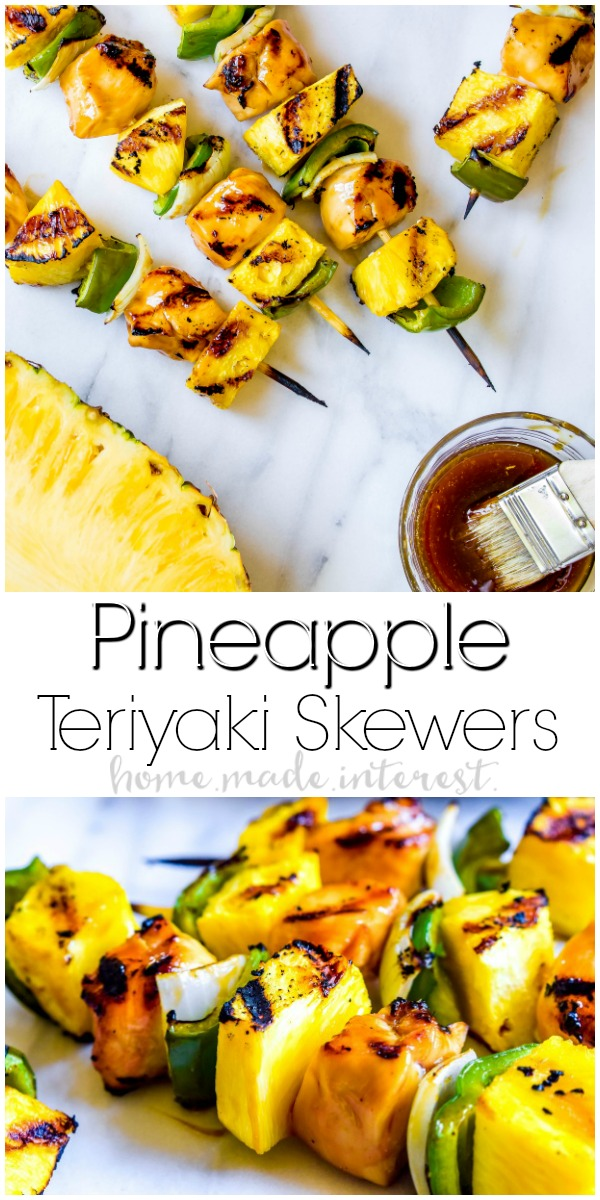 Grilled Pineapple Teriyaki Chicken Skewers | These easy grilled Pineapple Teriyaki Chicken Skewers make an amazing summer dinner recipe. Grilled pineapple, peppers, onions, and chicken are glazed with a sweet and salty homemade teriyaki sauce for a summer grill recipe the whole family will love.