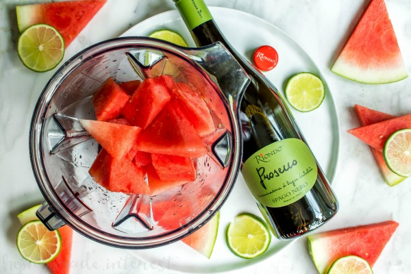 Frozen Watermelon Bellini | This light and delicious summer cocktail recipe is going to put the fun back into your summer! This frozen watermelon Bellini recipe is a summer party drink recipe that everyone will love. If you like watermelon recipes you're going to love this refreshing Frozen Watermelon mixed drink!