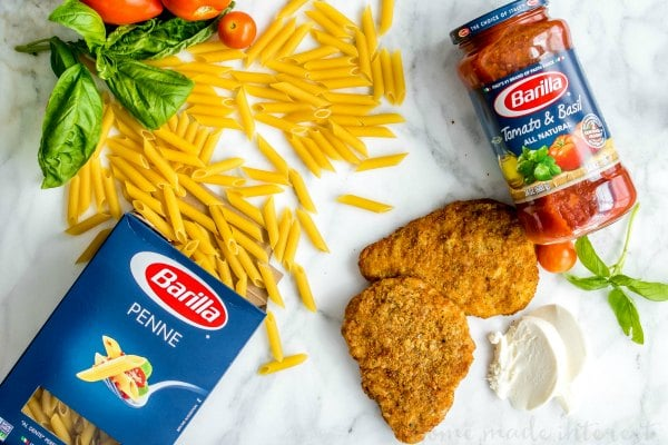 ingredients using Barilla penne and sauce to make chicken parmesan casserole
