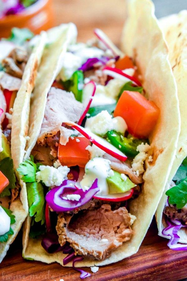 close up view of pork taco