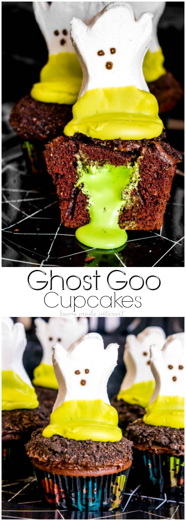 Craveyard Halloween Party | This fun kids' Halloween Party is full of all sorts of craveyard goodies. The ghost goo cupcakes are my favorite Halloween dessert recipe. The Halloween cupcakes are filled with green marshmallow slime that oozes out when you bite into them. We've also got a fun Halloween drink idea. This Halloween punch recipe is a bright green swamp water that guests are going to love! Lots of fun Halloween party decorations and Halloween party ideas that kids will love!