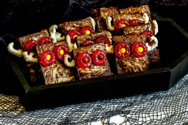 Halloween brownies that look like monsters