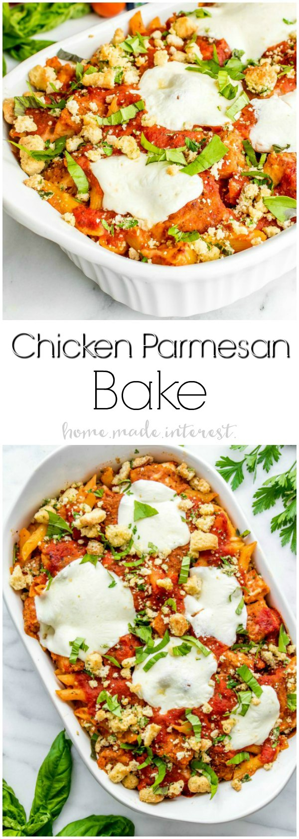 Chicken Parmesan Bake | This Chicken Parmesan Bake is a classic comfort food recipe that has been turned into an easy weeknight dinner recipe that is great back to school dinner for families. Chicken, pasta, sauce and lots of cheese make this easy casserole recipe taste just like chicken Parmesan in every bite!