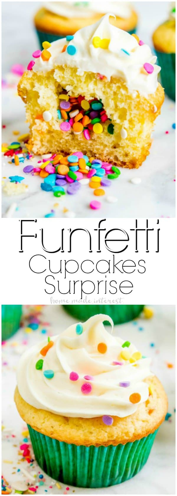 Funfetti Cupcake Surprise | These Funfetti Cupcakes are filled with an extra special surprise that kids are going to love. This simple Funfetti recipe starts with yellow cake mix and ends with a cupcake filled with rainbow sprinkles. Make this easy funfetti cupcake recipe for your family and enjoy the smiles on their faces!