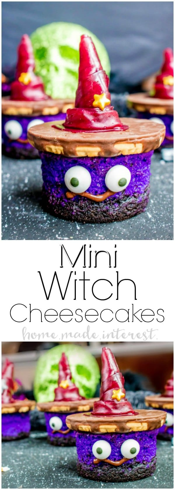 Mini Witch Cheesecakes | These adorable Mini Witch Cheesecakes take a simple cheesecake recipe and turn it into a fun Halloween dessert recipe that is perfect for Halloween parties! Make this halloween dessert for a kids Halloween party this year.