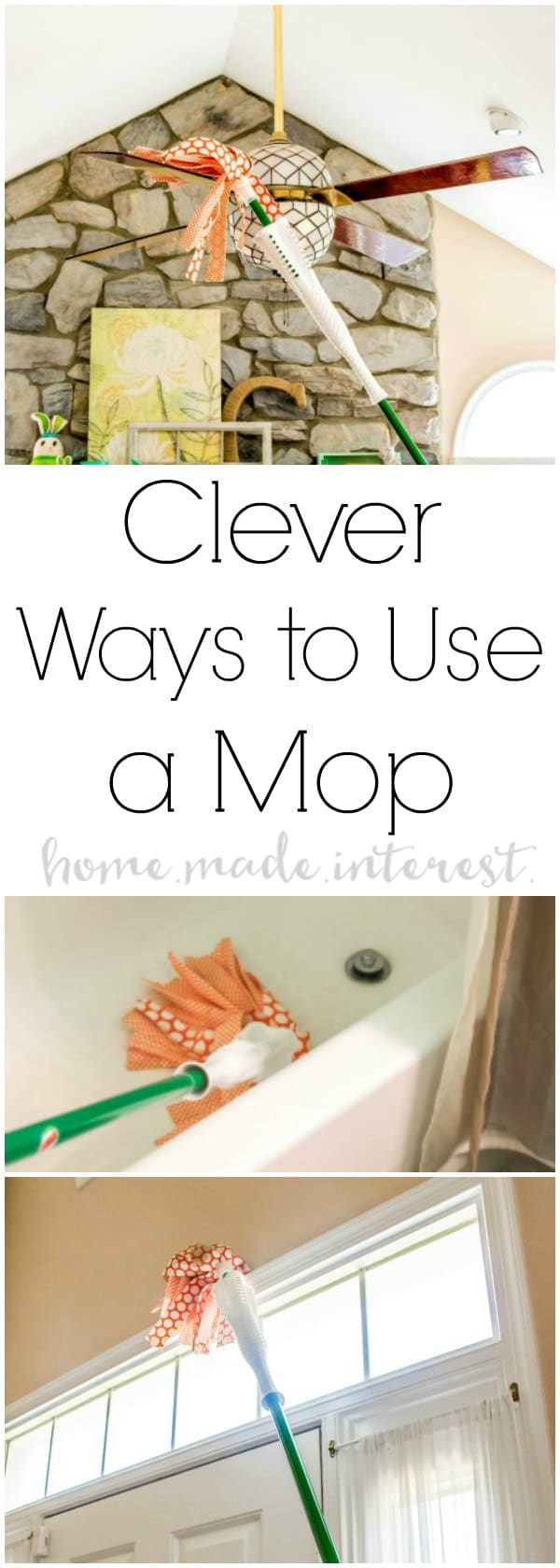 5 Clever Ways to Use a Mop | If you love Spring Cleaning or you're getting the house clean after the kids go back to school these 5 simple mop hacks are going to make cleaning so much easier. I'm sharing 5 ways to use a mop for all of your spring cleaning!
