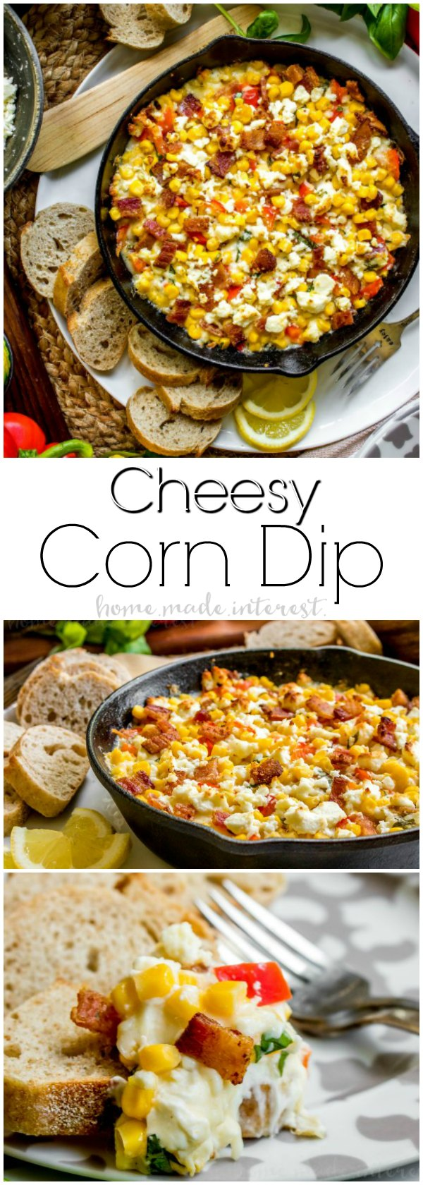 Cheesy Corn Dip | This Cheesy Corn Dip recipe is stuffed full of bacon, three types of cheeses, and sweet corn. It is a hot corn dip recipe that makes great party food! Make this easy appetizer for all of your game day parties. Enjoy the football game with hot corn dip and your favorite crackers!