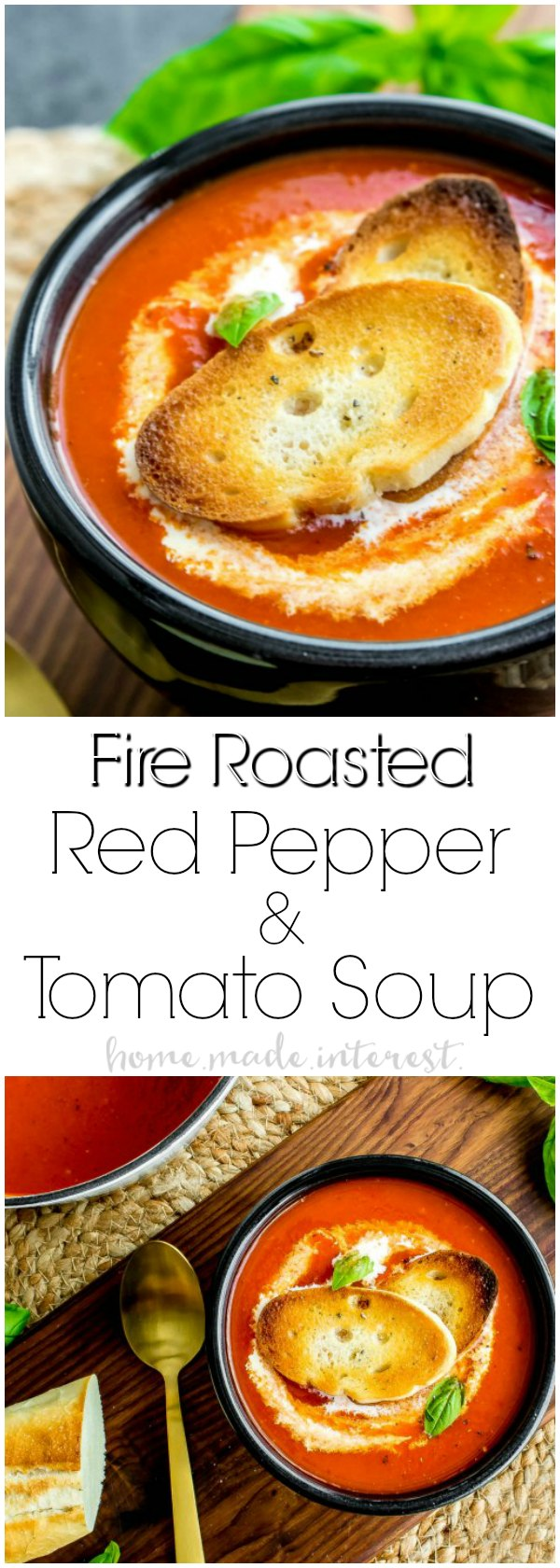 Fire Roasted Red Pepper Soup is a smoky tomato and red pepper winter soup recipe that is best served with a drizzle of cream and a crusty piece of bread or a grilled cheese sandwich! This easy soup recipe is the ultimate winter comfort food. It's a combination of tomato soup and the smoky flavor of roasted red peppers.