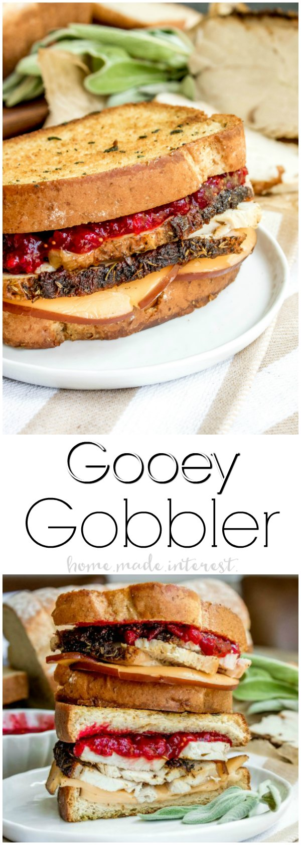 Gooey Gobbler Grilled Cheese Sandwich | The Gooey Gobbler is a grilled cheese sandwich piled high with turkey breast, smoked gouda, and cranberry sauce. If you are looking for an amazing comfort food recipe this grilled cheese recipe is it! This is the perfect recipe for using up Thanksgiving leftovers!