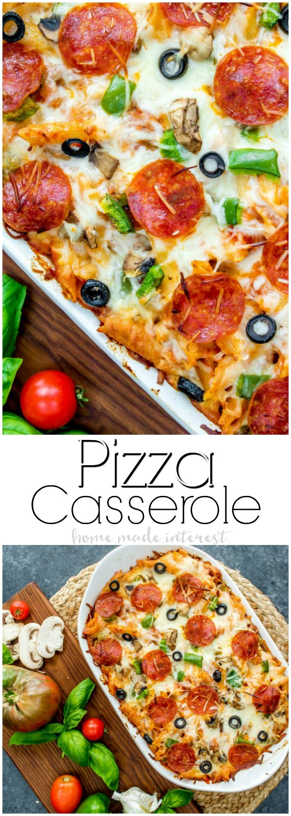 Pizza Casserole | This pizza bake recipe is going to make your next pizza night extra fun. Forget ordering pizza instead make this easy pizza casserole filled with ooey gooey mozzarella cheese and all of your favorite pizza toppings. If you are looking for a casserole recipe for dinner this Pizza casserole recipe is going to be a huge hit!