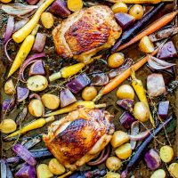 chicken thighs roasted with carrots and potatoes