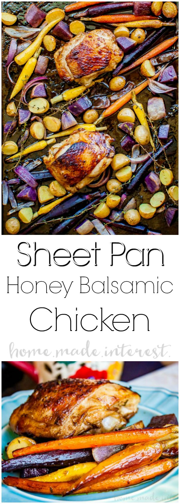 Sheet Pan Honey Balsamic Chicken | Sheet pan meals are quick and easy to make. This Sheet Pan Honey Balsamic Chicken is ready in less than 45 minutes. This is an easy weeknight chicken dinner. This easy sheet pan chicken dinner is an amazing dinner idea full of roasted carrots and tender chicken thighs.
