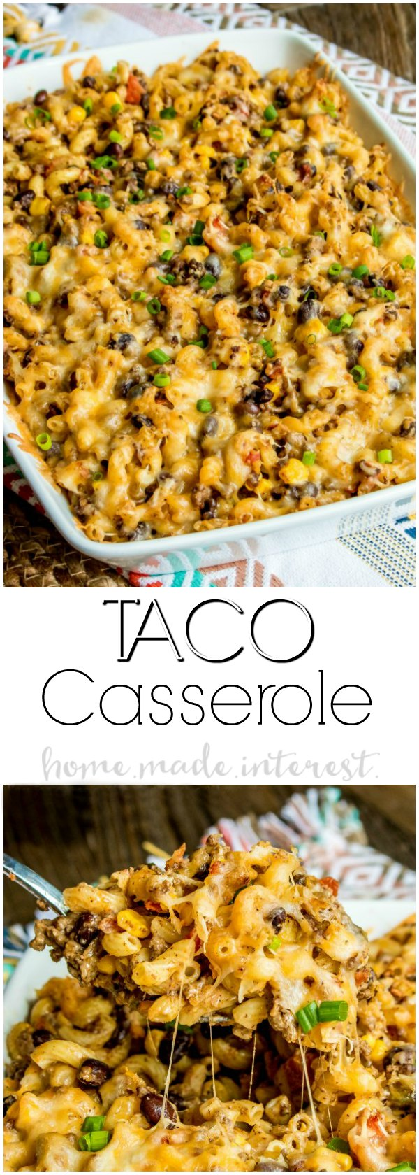 Taco Macaroni Casserole - This taco macaroni casserole is an easy taco bake recipe that makes a great weeknight dinner. Full of all of your favorite tex-mex flavors this is a taco casserole recipe that puts a fun spin on taco night! Turn your typical macaroni and cheese recipe into a spicy southwest comfort food with this easy taco macaroni casserole.