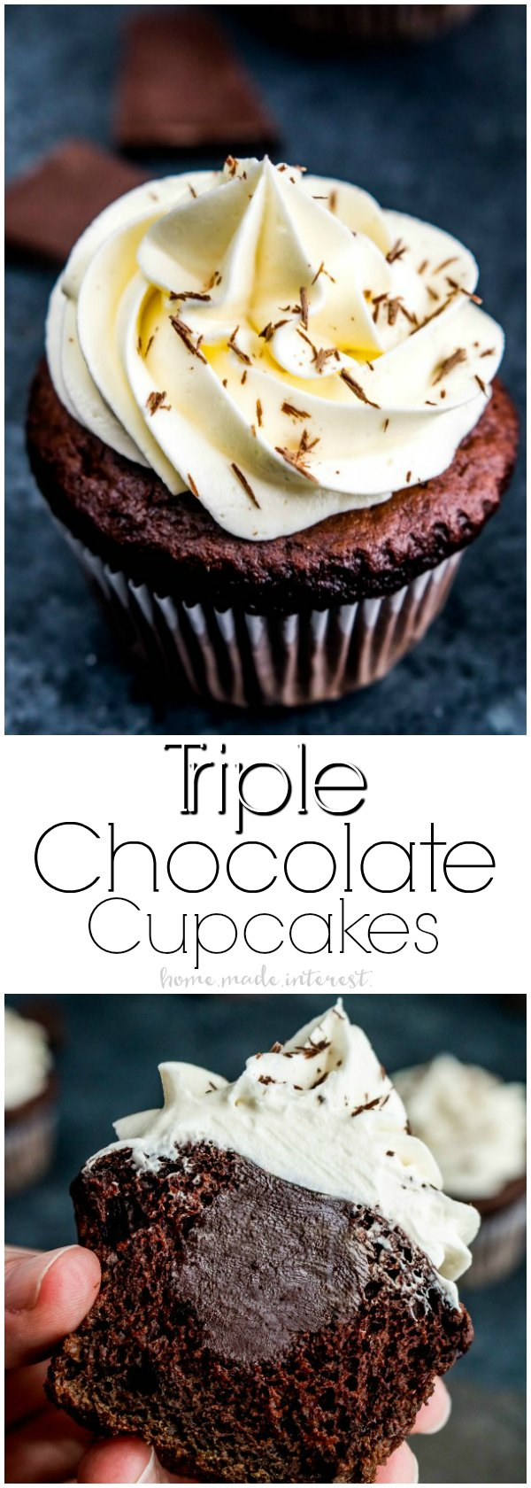 Triple Chocolate Cupcakes | These decadent Triple Chocolate Cupcakes are filled with a creamy chocolate ganache and topped with a luscious white chocolate frosting! It's a rich chocolate dessert recipe everyone will love. Make this cupcake recipe for your sweetie as a Valentine's Day dessert recipe and show them how much you love them! #chocolate #cupcake #dessertrecipe #dessert #valentinesday