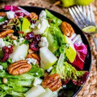 pecan and pear salad topped with blue cheese