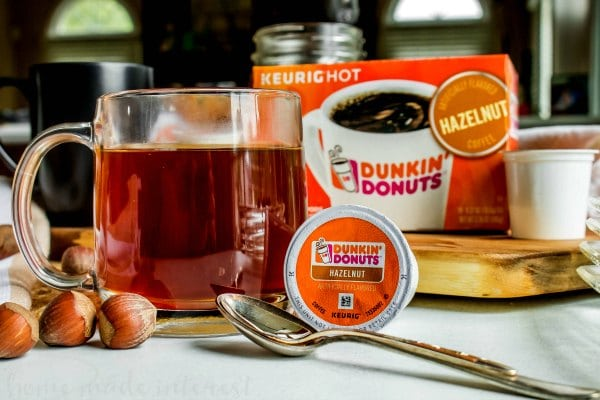 hazelnut coffee in clear mug