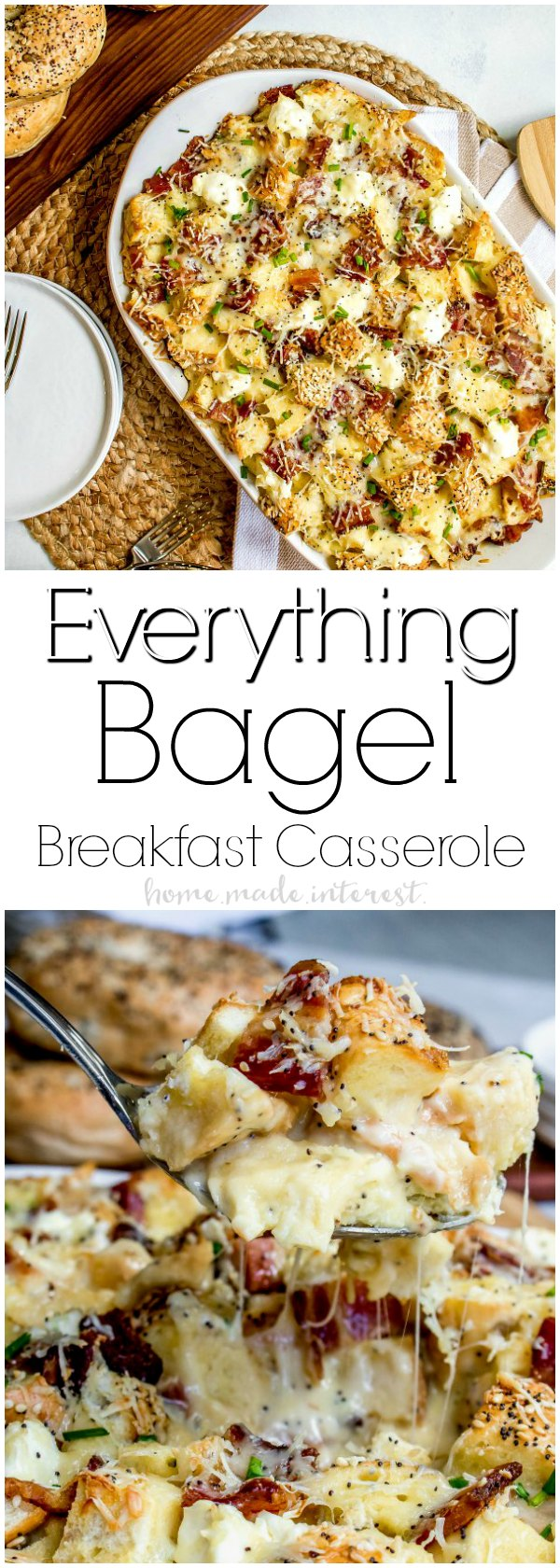 Everything Bagel Make Ahead Breakfast Casserole | This everything bagel make ahead breakfast casserole that is an easy brunch recipe for the holidays. This make ahead brunch recipe uses bagels, cheese, and bacon for a brunch recipe that everyone will love! Make this breakfast casserole for Mother's Day , Easter, Christmas, or New Year's brunch!
