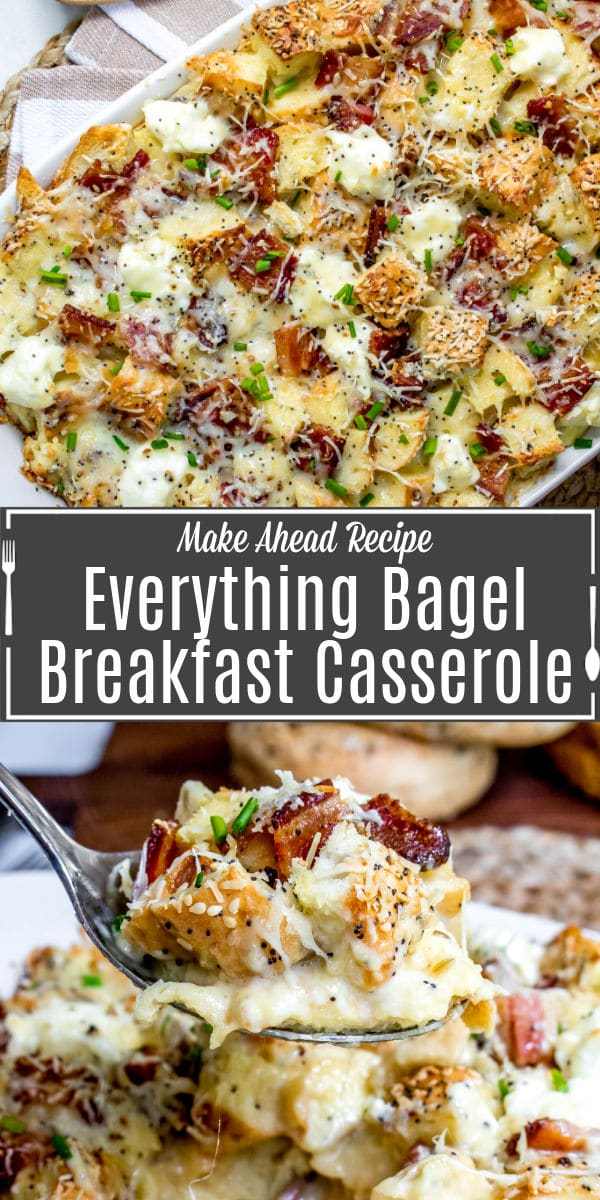 Pinterest image for Everything Bagel Make Ahead Breakfast Casserole with title text