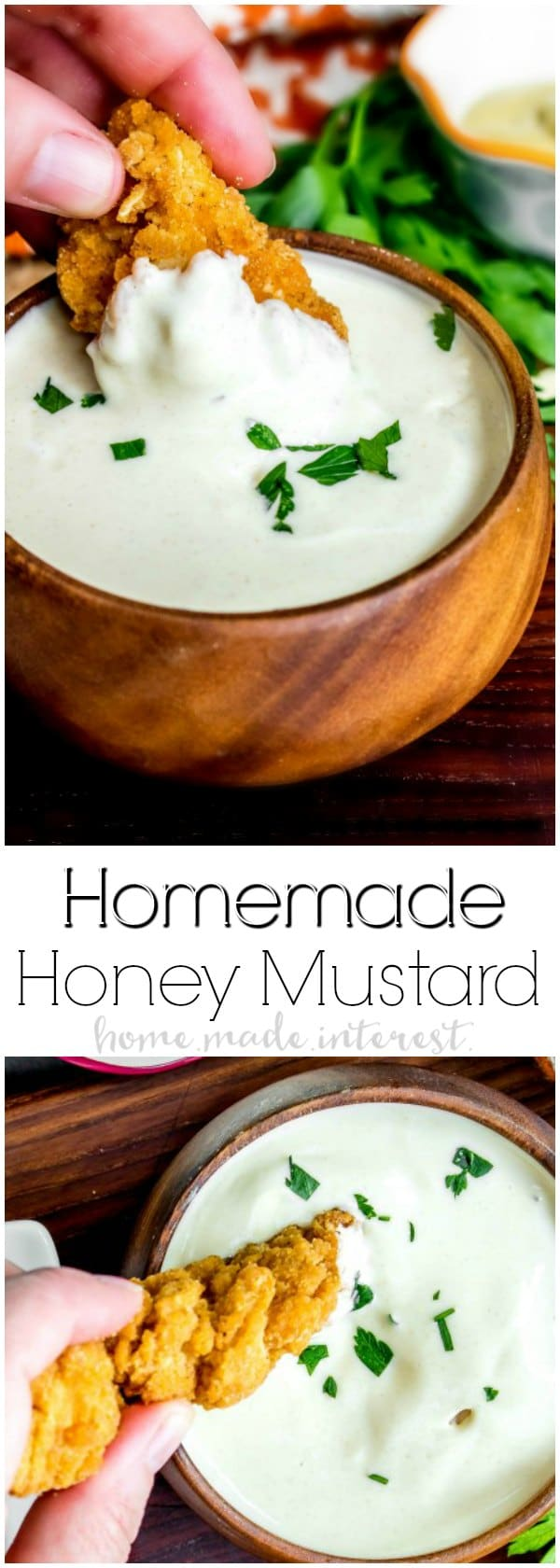 Who doesn't love Honey Mustard sauce on their chicken fingers, or french fries, or ham sandwich?! This homemade honey mustard sauce is an easy honey mustard recipe that uses wholesome, ingredients to make a healthy honey mustard recipe.
