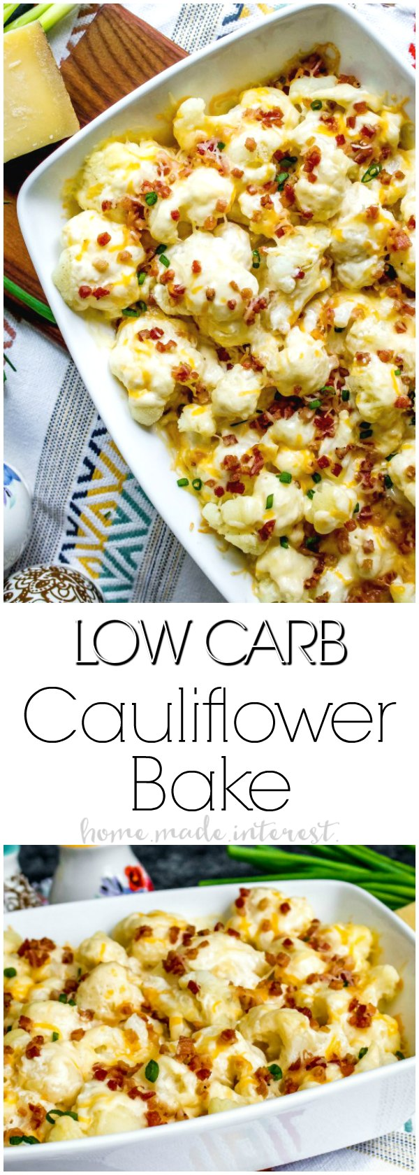 Low Carb Loaded Cauliflower Casserole | This is an easy low carb side dish recipe that make a great keto side dish recipe for Thanksgiving or Christmas! Low Carb Loaded Cauliflower Casserole is full of cheese and bacon and gives you all of the great tastes of a loaded potato dish without all of the carbs!