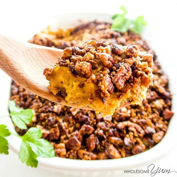 low carb sweet potato casserole for Thanksgiving