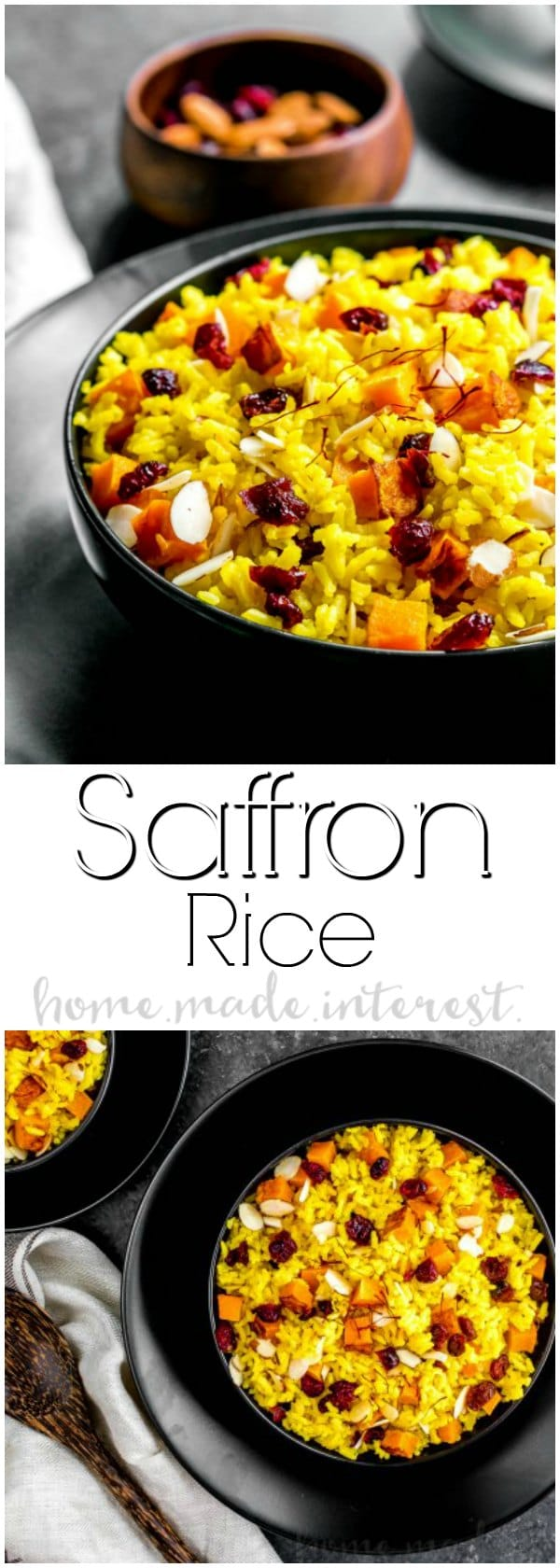 Butternut Squash Saffron Rice is an easy vegan side dish that is sure to impress your guests. Dried cranberries, slivered almonds, sweet roasted butternut squash, and fragrant saffron rice make this delicious saffron rice recipe perfect for fall and a great Thanksgiving side dish! This a vegan rice side dish using almond milk and vegan butter so everyone can enjoy it! #vegan #vegetarian #rice #saffron #coconutmilk #butternutsquash #Thanksgiving #Thanksgivingsidedishes #sidedish #homemadeinterest