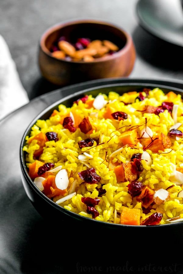 saffron rice with almonds
