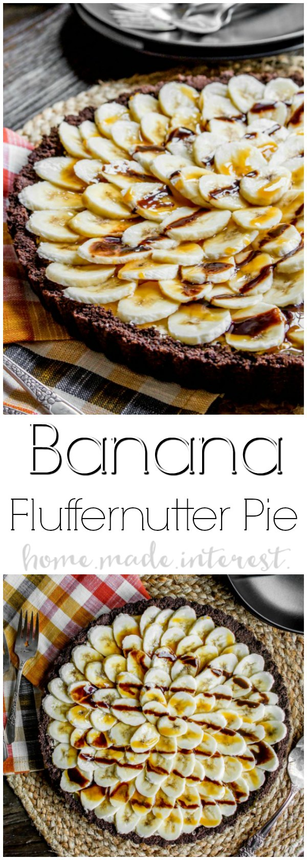 This easy dessert recipe is an almost no bake pie made with fluffernutter! Banana Fluffernutter Pie is a peanut butter twist on a banana cream pie. Chocolate graham cracker crust filled with fluffernutter and topped with fresh slices of bananas. This is a holiday dessert recipe that would make a great Thanksgiving dessert recipe or Christmas dessert recipe. If you like banana cream pie you're going to love this Banana Fluffernutter Pie! #pie #fluffernutter