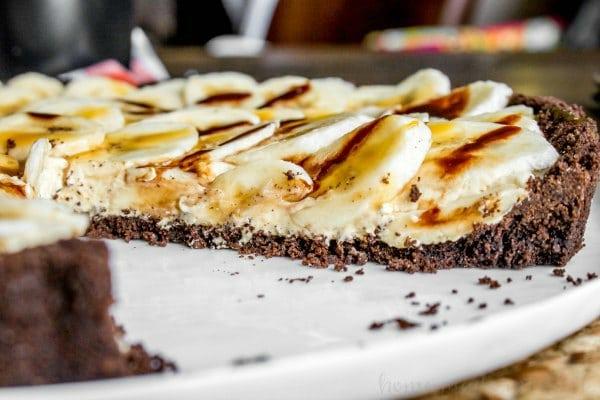 slice of banana fluffernutter pie on white platter