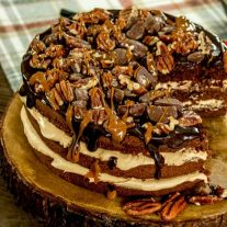 3 layer brownie cake with caramel frosting