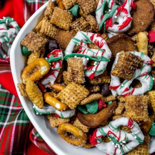 holiday chex mix with white chocolate covered pretzels