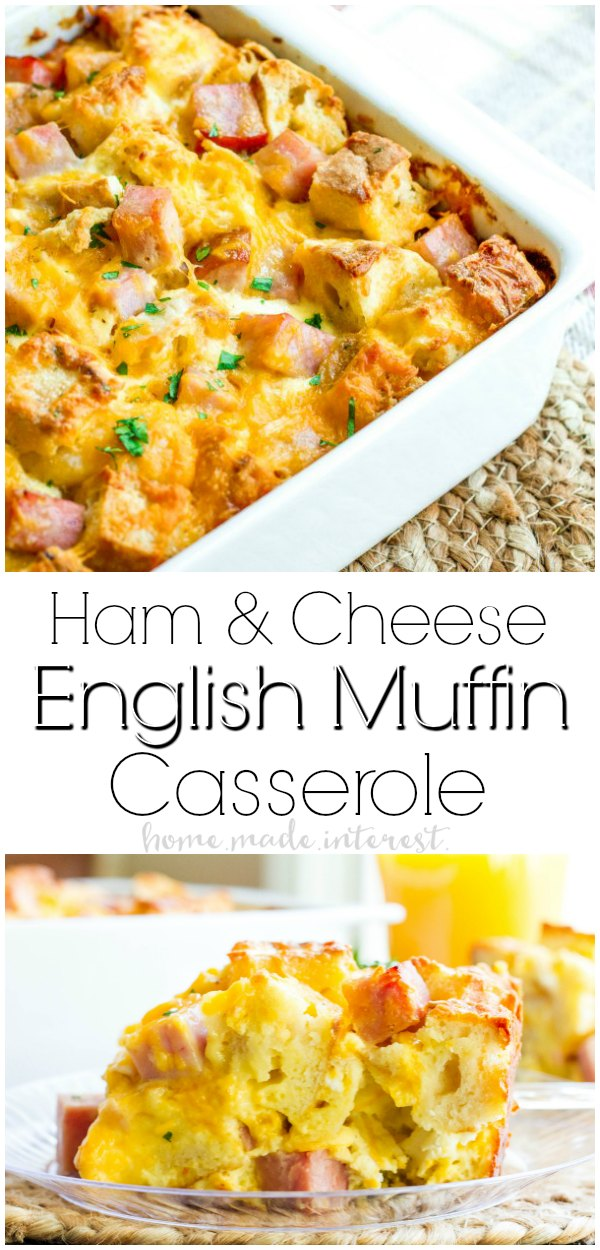 Ham and Cheese English Muffin Make Ahead Breakfast Casserole | This easy make ahead breakfast casserole is an easy brunch recipe filled with eggs, ham, cheese, and English muffins. It makes a great Christmas brunch recipe, New Year brunch recipe, or Easter brunch recipe. It's a breakfast casserole that everyone is going to love! AD #casserole #breakfast #newyear #christmas