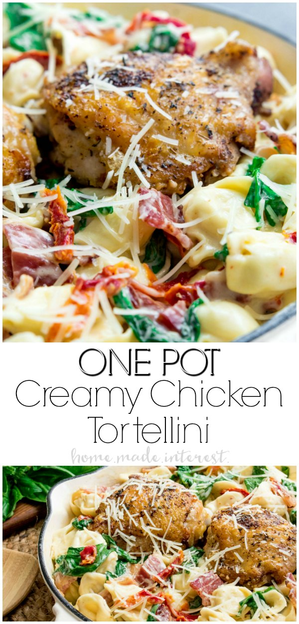 This One Pot Creamy Chicken Tortellini is an easy weeknight dinner of tender chicken thighs tossed in a rich, cheesy sauce with crisp bacon, flavorful sun dried tomatoes, fresh baby spinach, and cheese tortellini. It is a complete dinner that only takes one pot and 30 minutes to make! #pasta #onepotmeal #dinnerrecipes #chicken #homemadeinterest