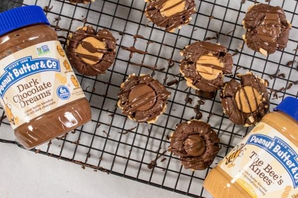 Peanut Butter & Co. Chocolate Peanut Butter Thumbprint Cookies | Dark chocolate dream thumbprint cookies