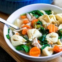 soup of homemade chicken tortellini soup with carrots and spinach