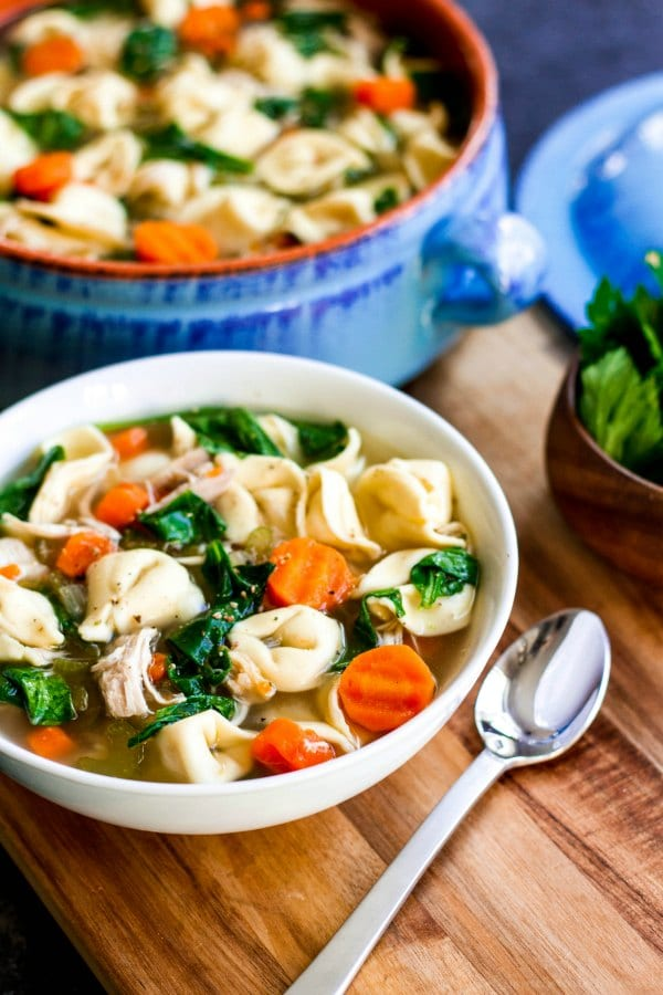 bowl of homemade chicken tortellini soup