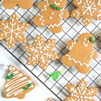 decorated gingerbread cookies for Christmas