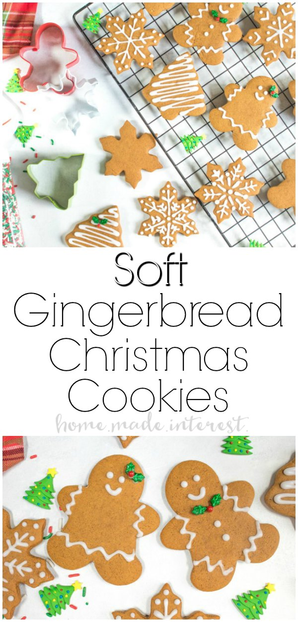 Soft Gingerbread Cookies | This soft gingerbread cookies recipe is a traditional gingerbread cookie that can be used for making gingerbread houses or a delicious gingerbread man. This gingerbread cookie recipe is a gingerbread cut-out cookie recipe that is perfect for baking and decorating Christmas cookies over the holidays. Make these gingerbread cookies for a cookie exchange, give them as a Christmas gift to friends and family, or serve them as a gingerbread Christmas dessert at holiday parties.
