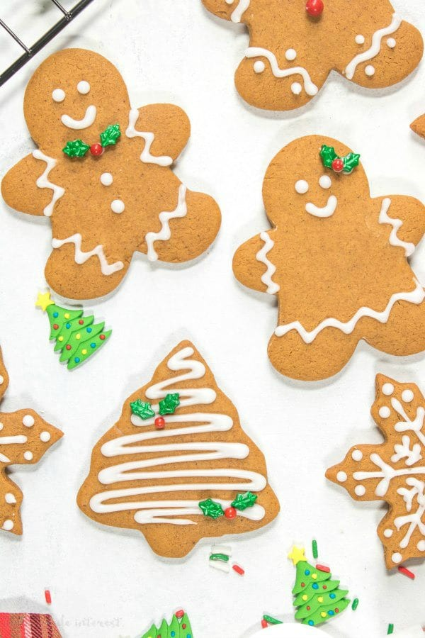 soft gingerbread cookies cut into gingerbread men and gingerbread women