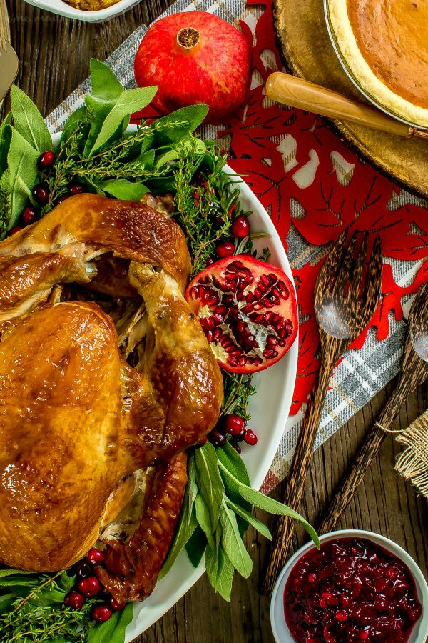 turkey with cranberry sauce