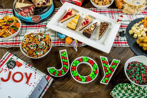 setting a table with dessert and appetizer for Christmas