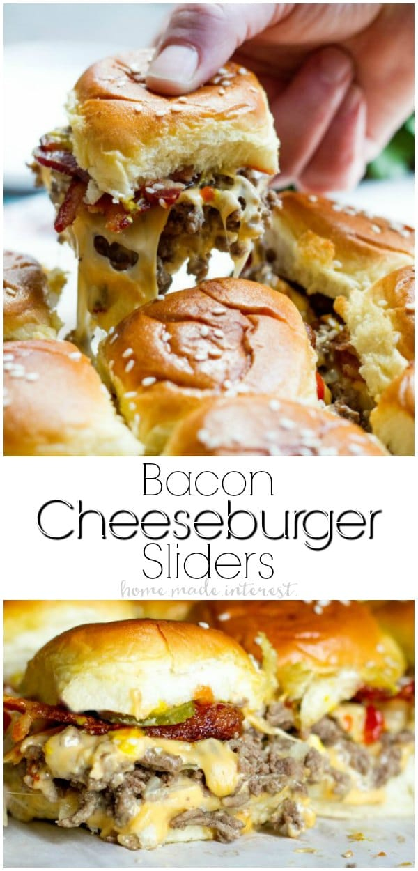 This easy Bacon Cheeseburger Sliders recipe is an appetizer recipe that is baked in the oven. These simple sliders are filled with ground beef, cheese, bacon, and your favorite burger toppings all on  toasted Hawaiian rolls. This is a great recipes for parties, especially during football season! Make these sliders for your Super Bowl party and watch them disappear! #appetizerrecipe #appetizer #cheeseburger #groundbeef #bacon #cheese #baked #homemadeinterest