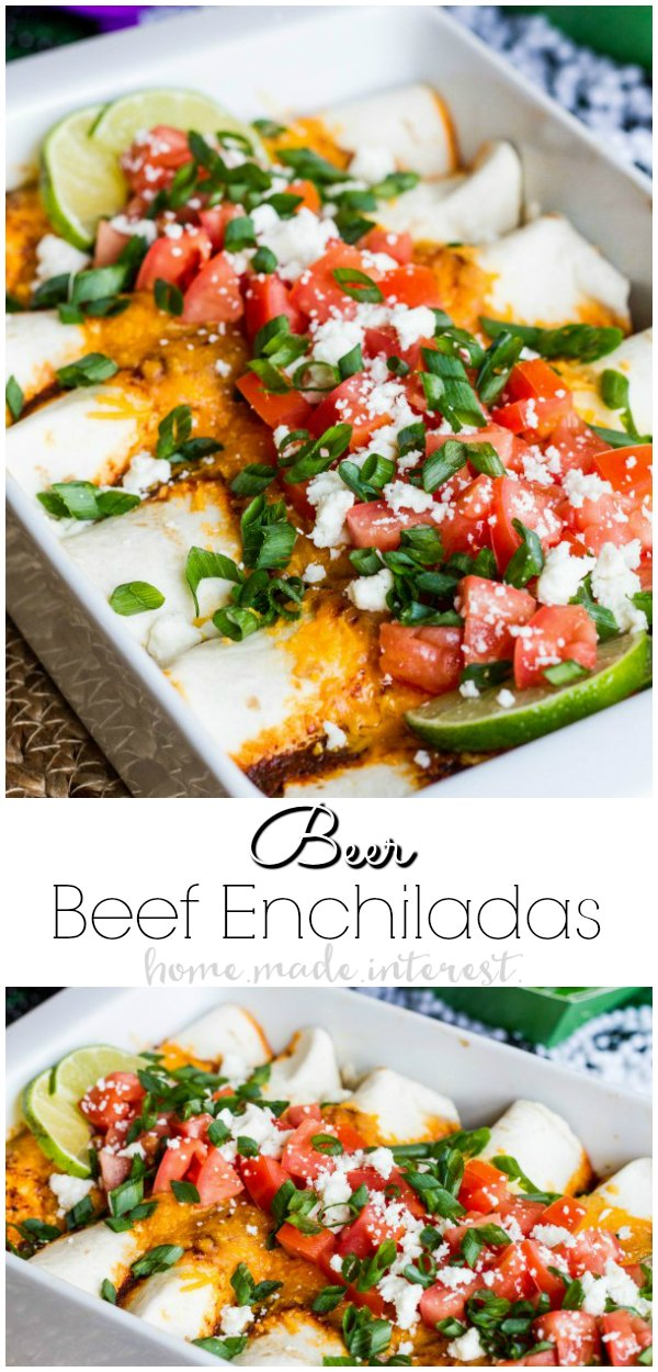 Beer Braised Beef Enchiladas | This easy beef enchiladas recipe uses beer braised beef barbacoa to fill flour tortillas. These beef enchiladas are full of flavor and so easy to make. Make them as an easy weeknight dinner recipe or if you need a football party food idea make these beef enchiladas for your next game day party!