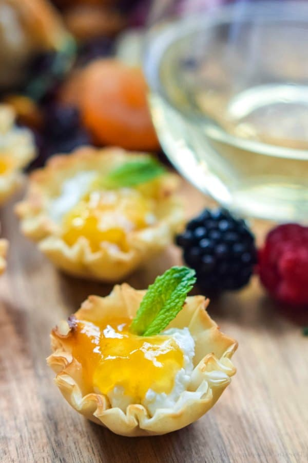 peach preserves and goat phyllo cup