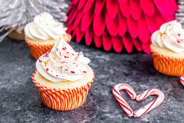 white chocolate butter cream frosting on a peppermint cupcake