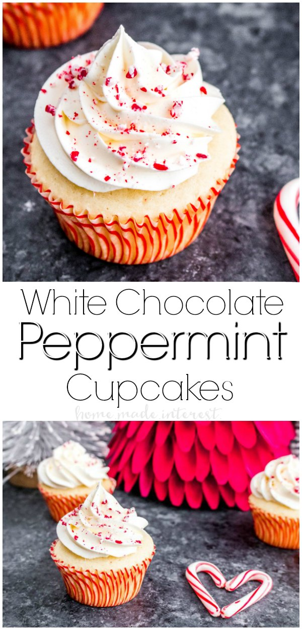 White chocolate Peppermint Cupcakes | These white chocolate peppermint cupcakes are a Christmas dessert recipe you don't want to miss. Peppermint cupcakes with a white chocolate buttercream frosting that is silky smooth with just the right amount of peppermint. This easy cupcake recipe is an amazing Christmas cupcake recipe.