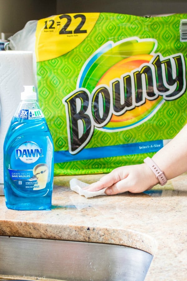 Dawn soup and Bounty paper towels on kitchen counter